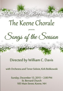The Keene Chorale presents Songs of the Season December 13